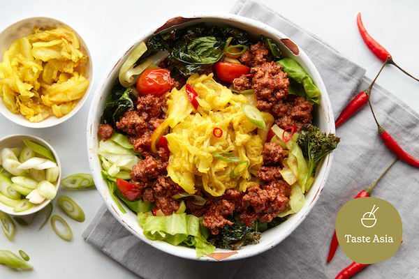 taste the flavours of Asia with this spicy Korean-style mince and kimchi bowl