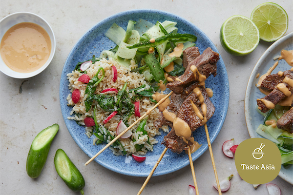 beef satay skewers, from our asian recipes, are perfect for the warm summer months